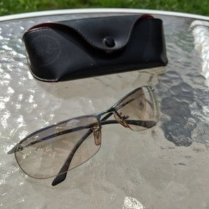 Vintage Authentic Ray-Ban Rimless Clear/Tan lense